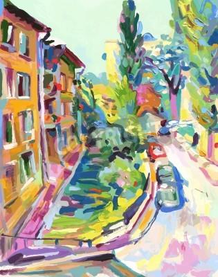 Cuadro oil painting vector illustration.