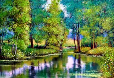 Cuadro Oil paintings landscape, autumn landscape with trees and lake
