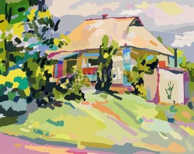 Cuadro oil paintings of summer village