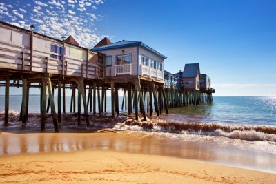 Old Orchard Beach Pier, Maine USA on a sunny day