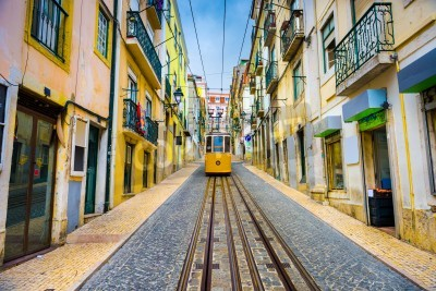 Cuadro old town streets and street car in Lisbon, Portugal