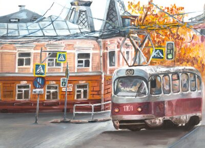 Cuadro Old tram, oil paintings landscape, city. Fine art. Autimn in the city.