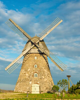 Old windmill in Baltic agriculture region, Europe
