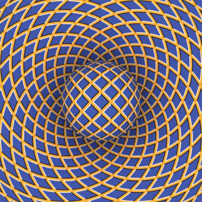Cuadro Optical illusion of rotation of the ball against the background of a moving space.