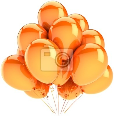 Orange globos parte decoración. Concepto de vacaciones Sunny