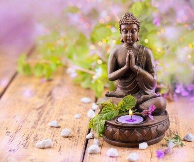 Cuadro Orar Buda con la vela y lavanda