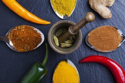 Cuadro Oriental, indio, especias, curry, pimentón, nuez moscada, pizarra