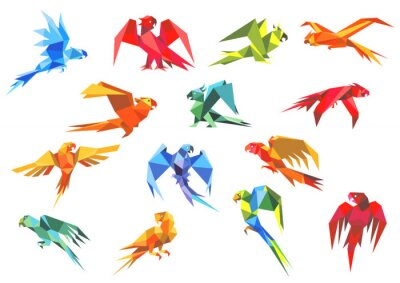 Cuadro Origami paper models of parrots