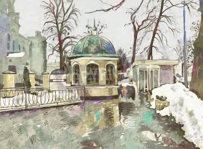 Cuadro original digital painting of winter cityscape  Modern Impressionism