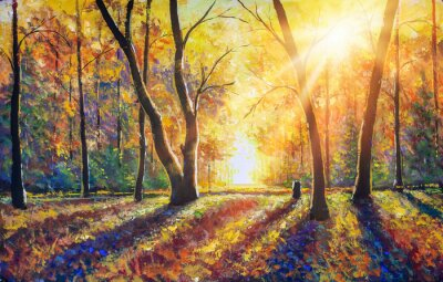 Cuadro Original hand painted autumn oil painting on canvas. Sunny autumn dark trees in gold autumn forest park wood alley impressionism art