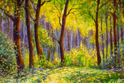 Cuadro Original oil painting, contemporary style, made on stretched canvas Sunny Park forest wood - green trees in the sunlight