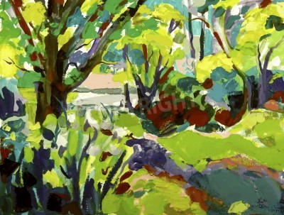 Cuadro Original oil painting landscape with tree