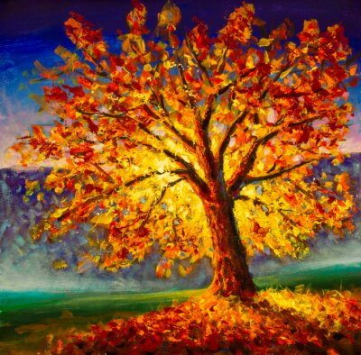 Cuadro Original oil painting on canvas art. Sunny autumn tree. Modern impressionism. Autumn gold yellow orange red tree in sun light landscape expressionism artwork oil acrylic painting