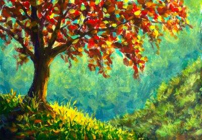 Cuadro Original oil painting on canvas. Autumn tree on sunny mountain side landscape. Modern art.