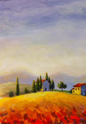 Cuadro Original oil painting on canvas beautiful sunset in Tuscany artwork; Italy landscape Modern art illustration.