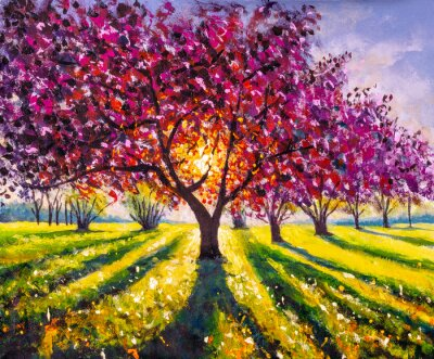 Cuadro Original oil painting sunny landscape on canvas. Beautiful early spring, spring landscape. Modern impressionism painting.