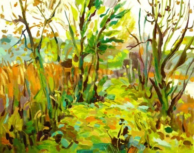 Cuadro Original paisaje pintura al óleo con el árbol
