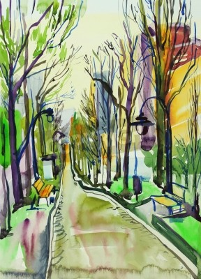 Cuadro original watercolor painting of city park