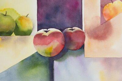 Cuadro Original watercolor, still life, apple design.