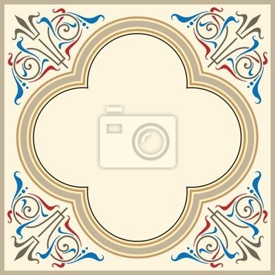 Ornamentales marco heráldico en estilo medieval pinturas para la ...