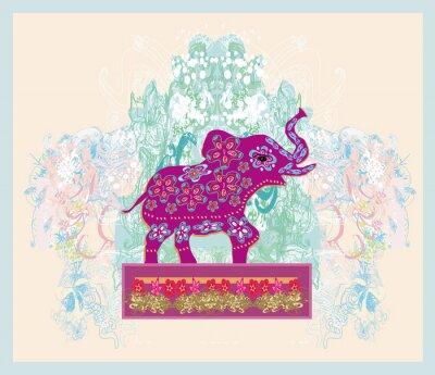 Cuadro Ornamento indio del vintage con un elefante