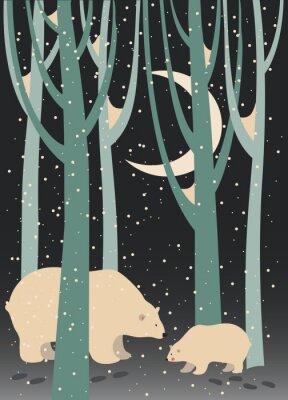 Cuadro Oso polar y cachorro en el bosque