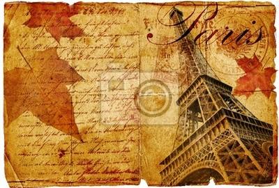 otoño en la carta de París-vintage