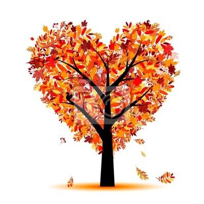 Otoño Hermoso árbol De Forma De Corazón Para Su Diseño Pinturas Para
