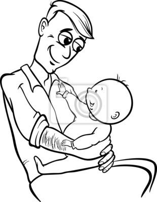 Padre Para Colorear De Dibujos Animados Bebe Pinturas Para La