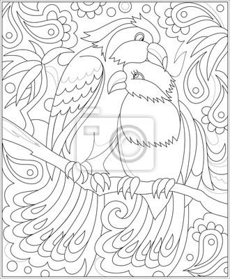 Cuadro Página En Blanco Y Negro Para Colorear Dibujo De La Fantasía