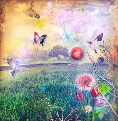 Cuadro País de las maravillas con flores de colores