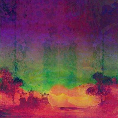 Cuadro paisaje abstracto chino