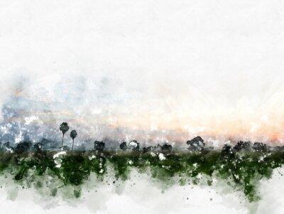 Cuadro Paisaje colorido abstracto del campo en fondo de la pintura de la ilustración de la acuarela.