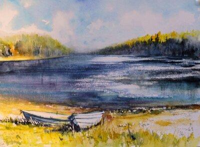 Cuadro Paisaje con barcos de pesca en la costa del lago. Imagen creada con acuarelas.