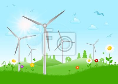 Paisaje con las turbinas de viento