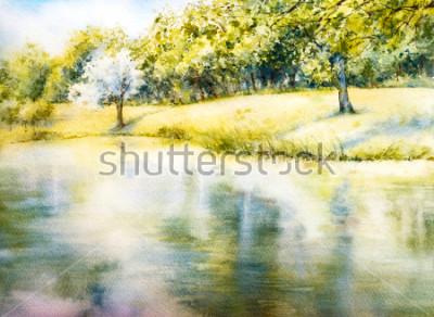 Cuadro Paisaje de acuarela. Parque de verano. Naturaleza. Ilustración botánica de acuarela. Paisaje con un lago. Costa