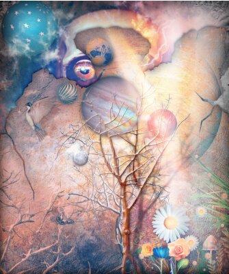 Cuadro Paisaje de fantasía con árbol embrujado