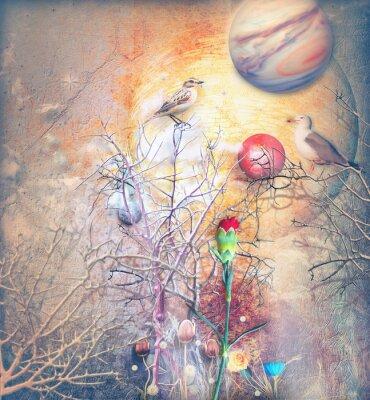 Cuadro Paisaje de fantasía con árbol embrujado, pájaros y clavel rojo