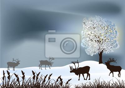 paisaje de invierno con ciervos cerca de árbol