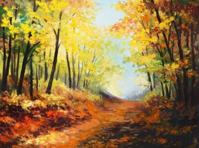 Cuadro Paisaje de la pintura al óleo - colorido bosque de otoño
