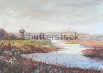 Cuadro Paisaje de la pintura de la acuarela Río y molino de viento viejo Ejemplo dibujado mano de la acuarela.