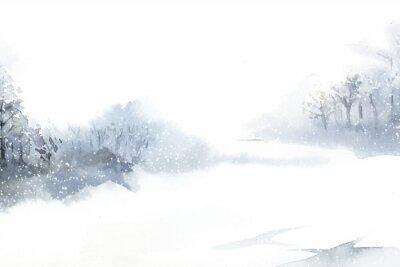 Cuadro Paisaje de las maravillas de invierno pintado por vector acuarela