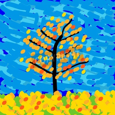 Cuadro Paisaje de otoño en el estilo del impresionismo. Ilustración del vector.