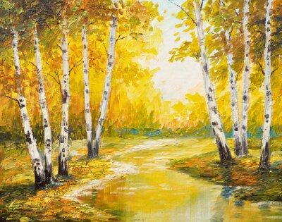 Cuadro Paisaje de pintura al óleo - bosque de otoño cerca del río, hojas de naranja
