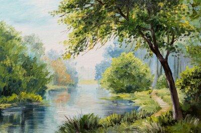 Cuadro Paisaje de pintura al óleo - colorido bosque