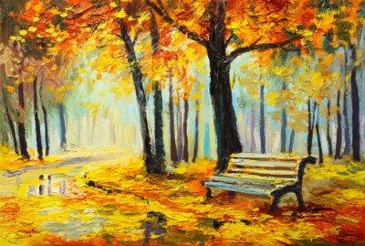 Cuadro Paisaje de pintura al óleo - colorido bosque de otoño