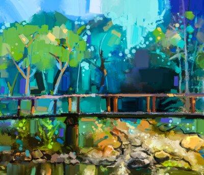 Cuadro Paisaje de pintura al óleo con puente de madera sobre arroyo en el bosque. Pintado a mano Bosque colorido de naturaleza de verano con color amarillo y verde-azul