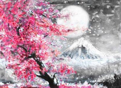 Cuadro Paisaje de pintura al óleo con sakura y montaña, dibujado a mano ilustración, Japón