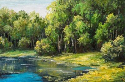 Cuadro Paisaje de pintura al óleo - lago en el bosque, día de verano