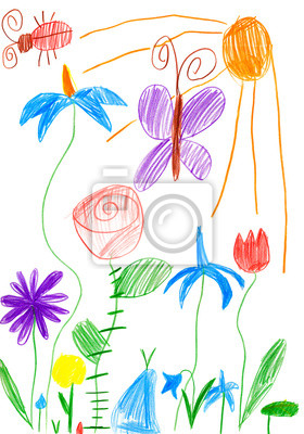 Paisaje De Primavera Con Mariposas Y Flores Dibujo Infantil